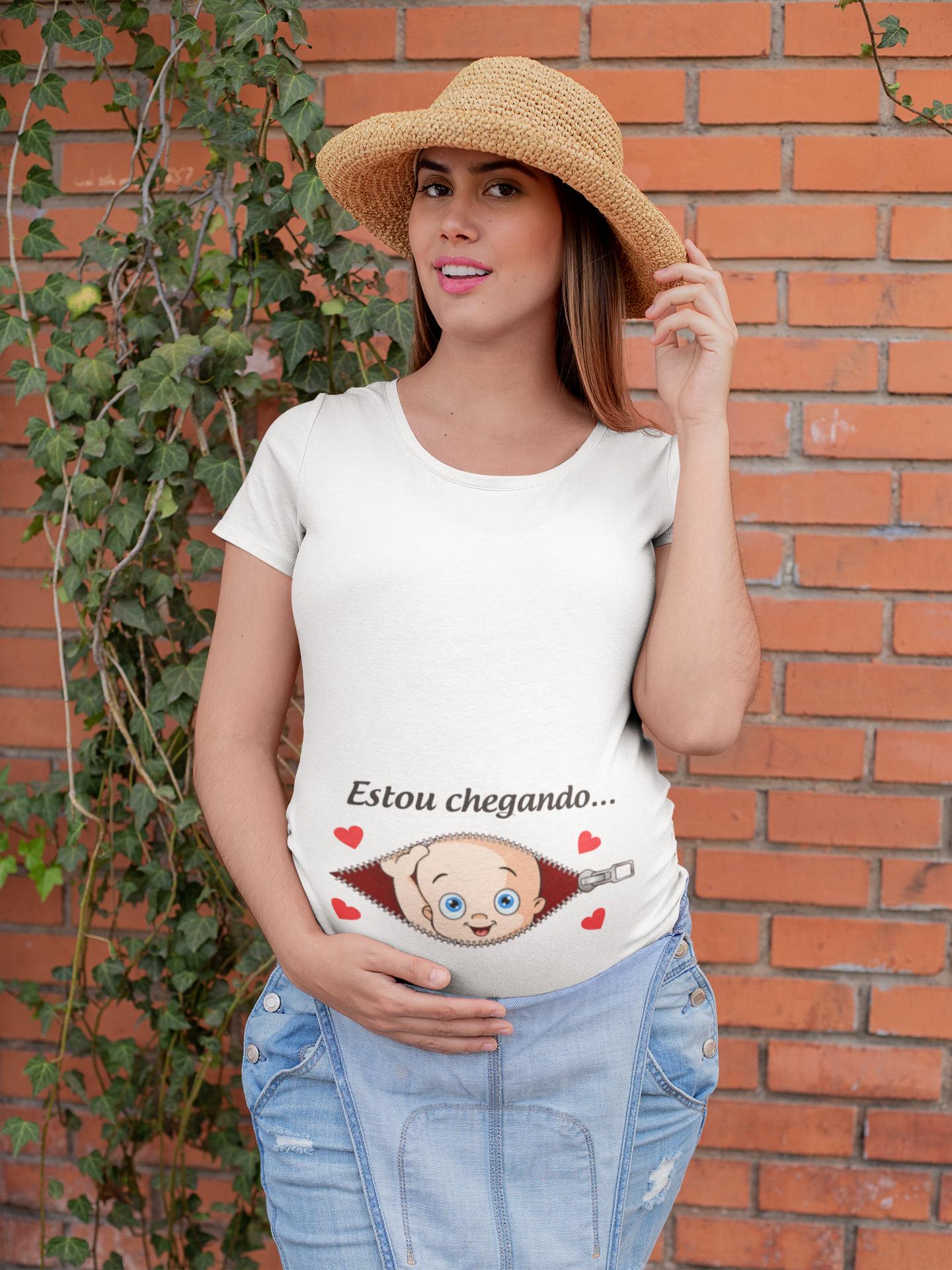 Camiseta Gestante Estou Chegando Papai Chá De Bebê Grávida 1