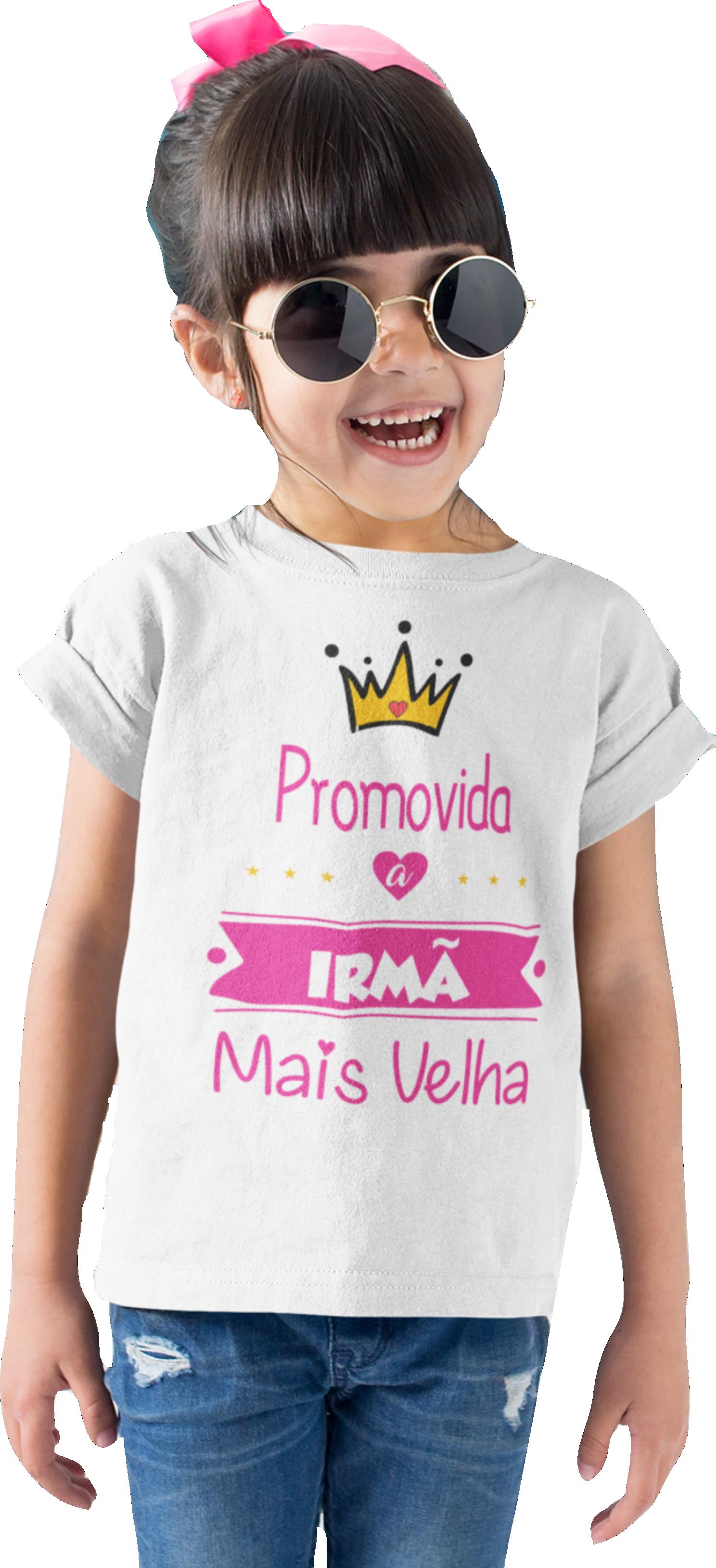 Camiseta Promovida a Irmã Mais Velha algodão capa
