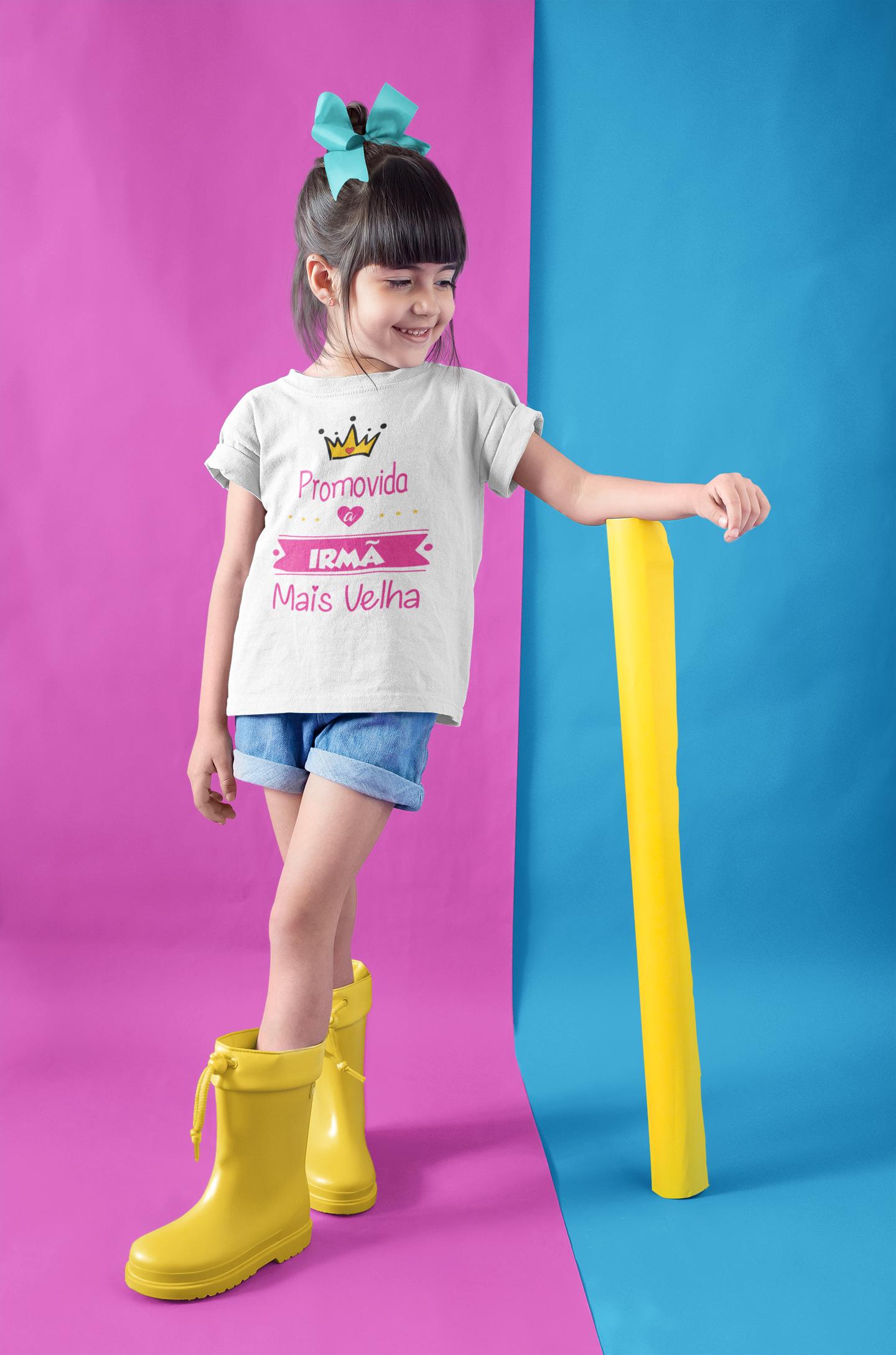 Camiseta Promovida a Irmã Mais Velha algodão 1