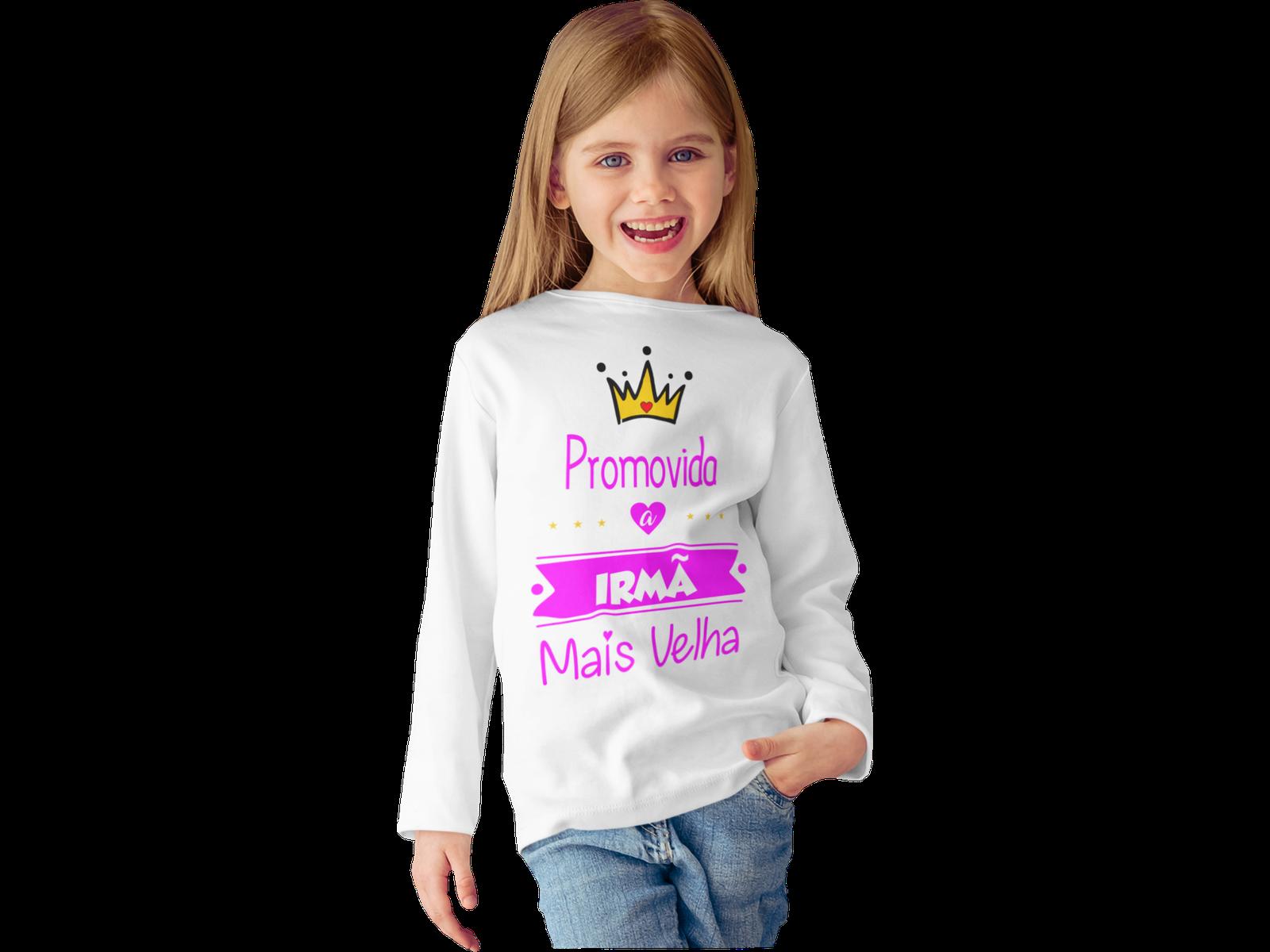 Camiseta Promovido a Irmã Mais Velha Manga Longa