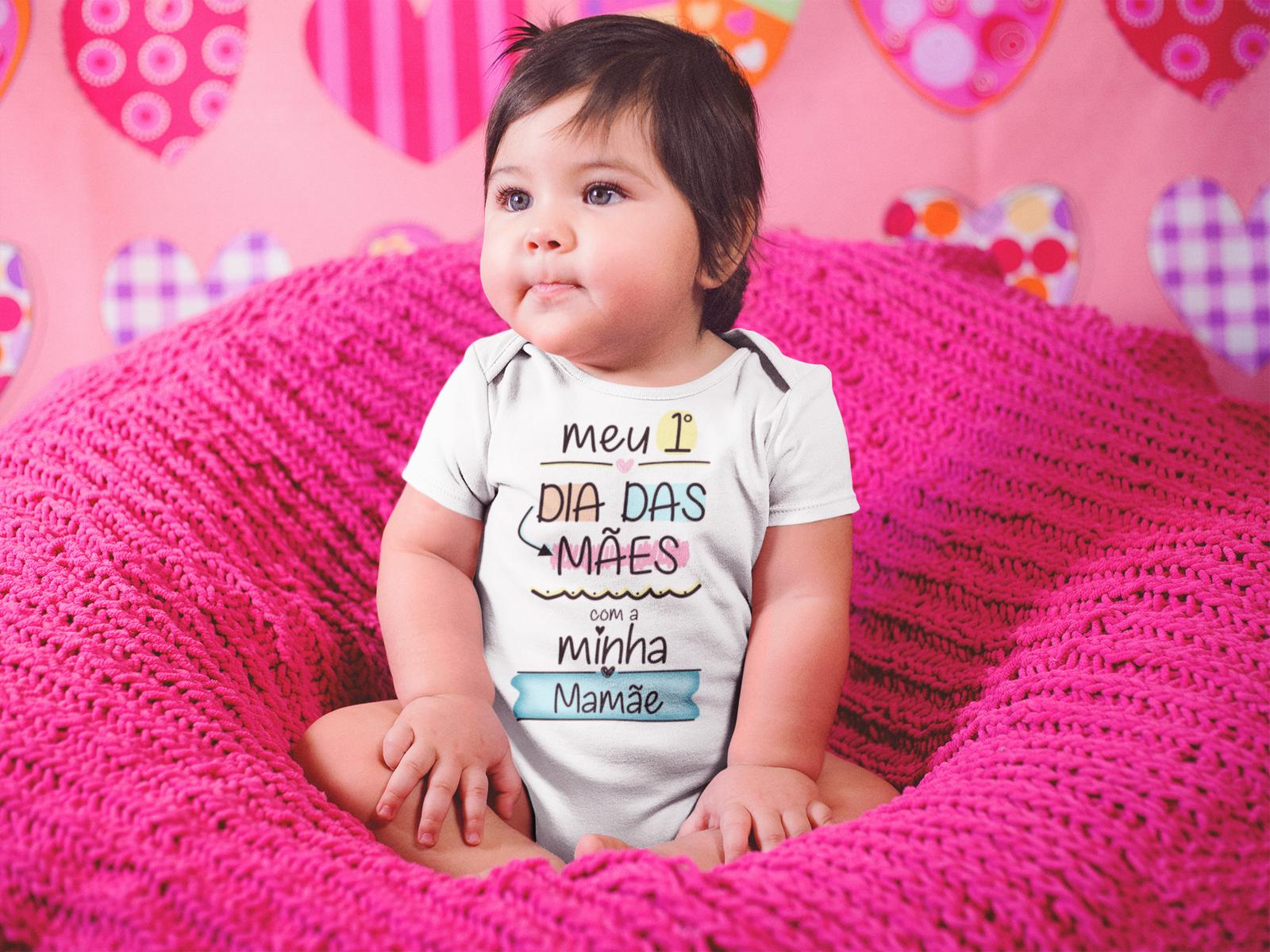 Camiseta e Body Primeiro dia Das Mães Filha e Mamãe
