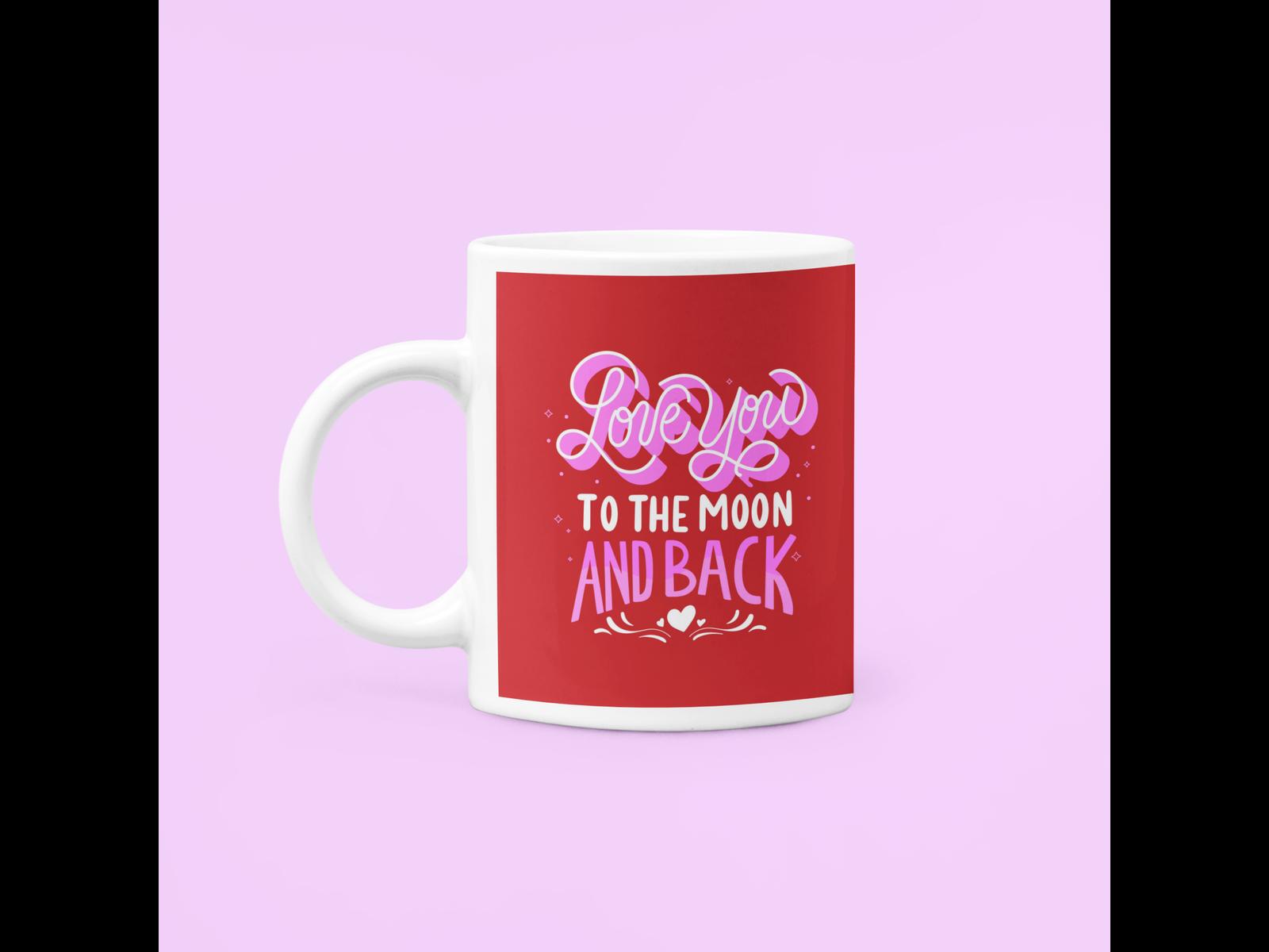 Caneca Love You To the Moon and Back Casal Dia dos Namorados Noivos Casados