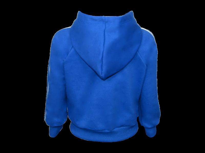 trás blusa de moletom azul royal tamanho infantil
