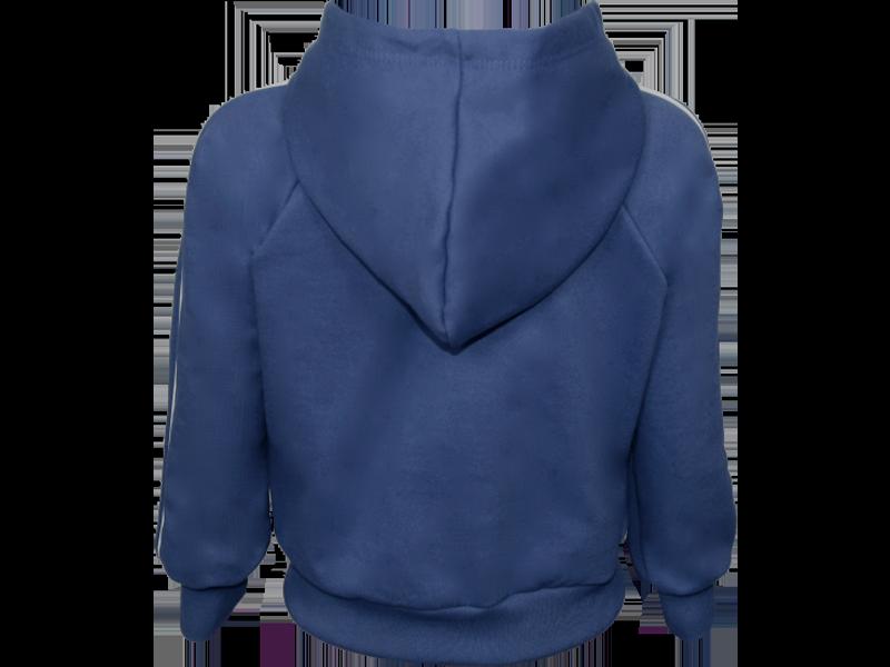 trás blusa de moletom azul marinho tamanho infantil
