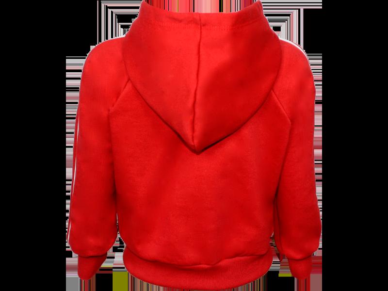trás blusa de moletom vermelha tamanho juvenil