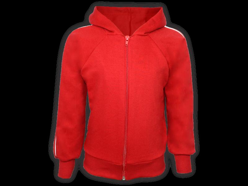 frente blusa de moletom vermelha tamanho infantil