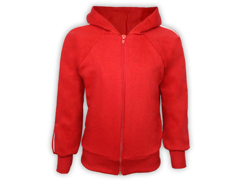 frente blusa de moletom vermelha tamanho juvenil