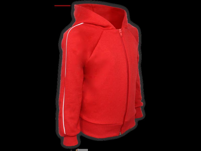 perfil blusa de moletom vermelha tamanho infantil