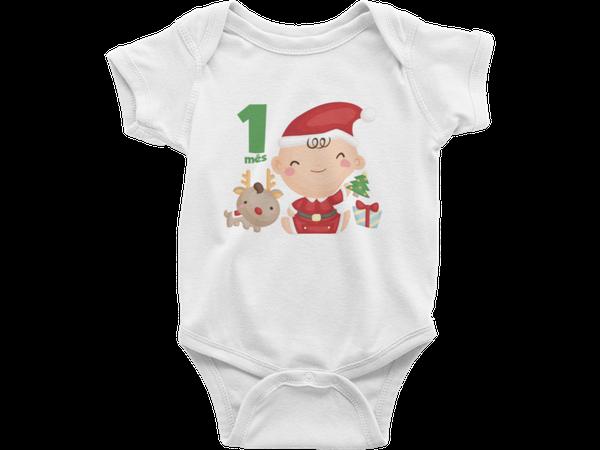 Body Bebê Infantil Meu Primeiro Natal Feliz Natal Mesversário 1 mês
