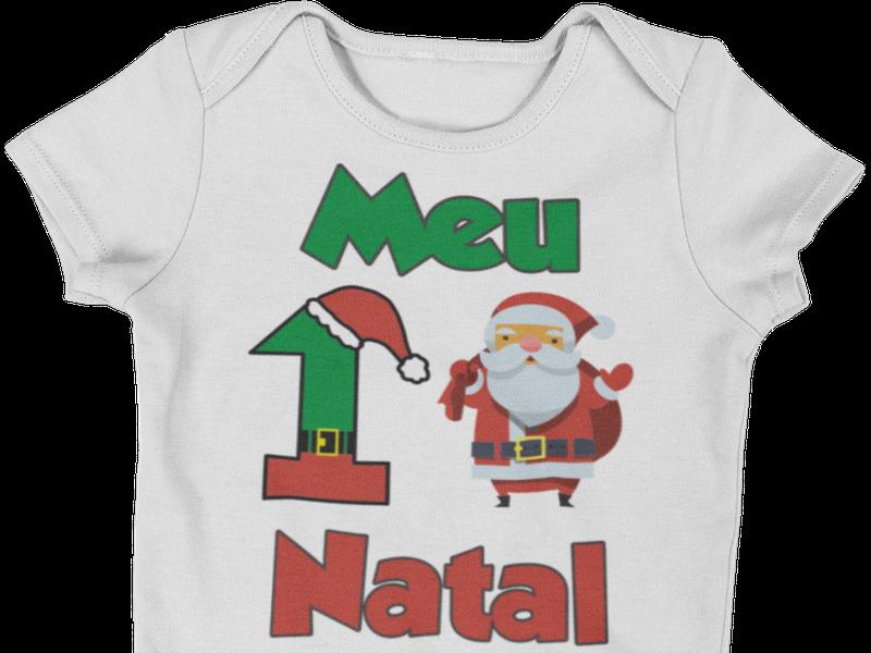 Body Bebê Infantil Meu Primeiro Natal Roupinha