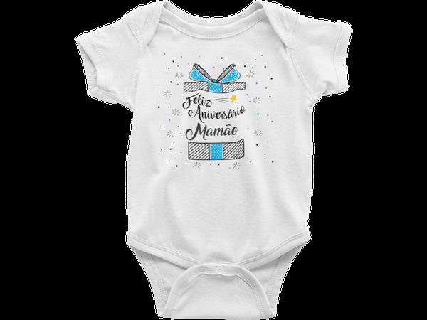 Body Do Bebê Feliz Aniversário Mamãe Azul