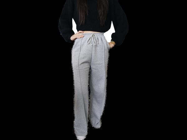 Calça Moletom Feminina Pantalona Cós Alto Bolso Lateral