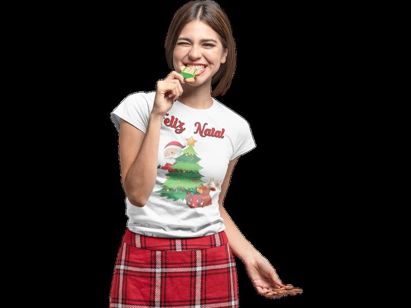 Camiseta Baby Look Feliz Natal Boas Festas