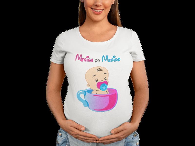Camiseta Chá de Bebê Revelação Menino ou Menina