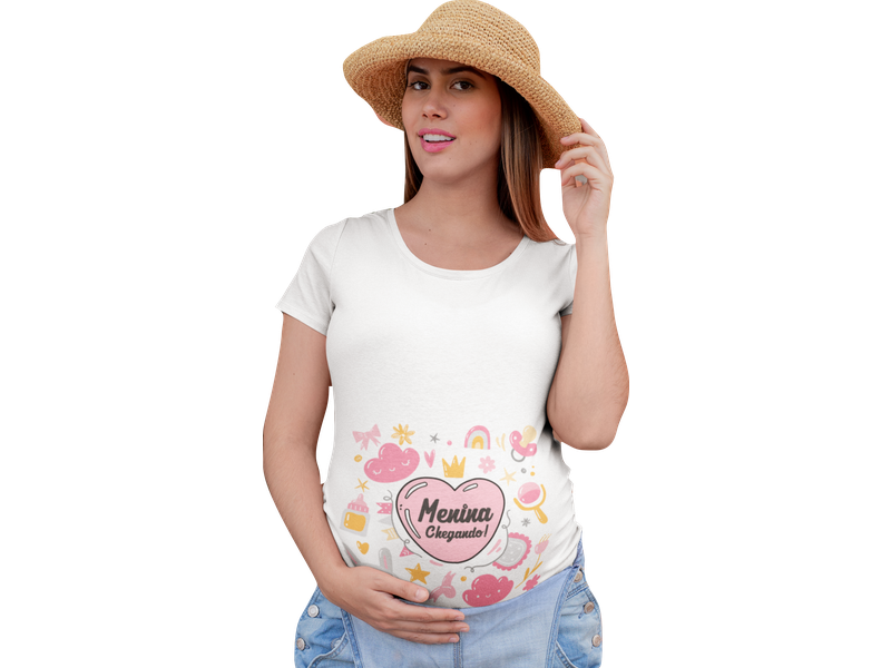 Camiseta Gestante Gravida Divertida Menina Chegando Bebe
