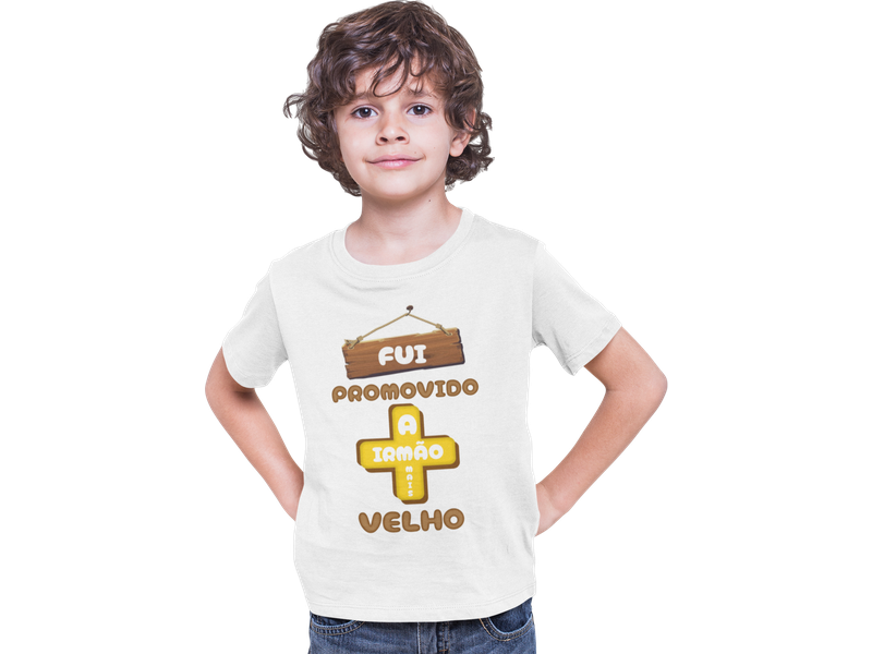 Camiseta Infantil Fui Promovido a Irmão Mais Velho