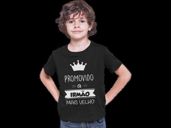 Camiseta Promovido a Irmão Mais Velho Colorida infantil