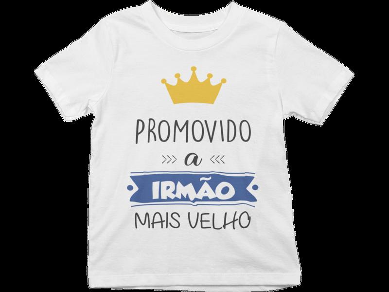Camiseta Promovido a Irmão Mais Velho algodão Infantil