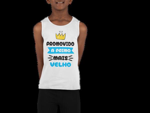 Camiseta Regata Promovido a Primo Mais Velho Infantil