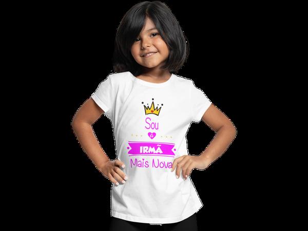 Camiseta Sou a Irmã Mais Nova algodão Infantil