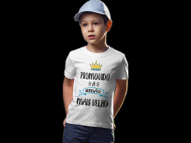 Camiseta algodão Promovido a Irmão Mais Velho Infantil