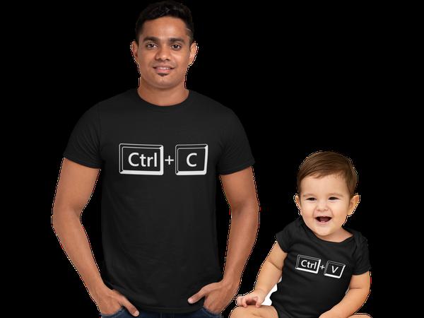 Kit Camiseta Body Bebe Ctrl C Ctrl V Dia dos Pais Tal Pai Tal Filho