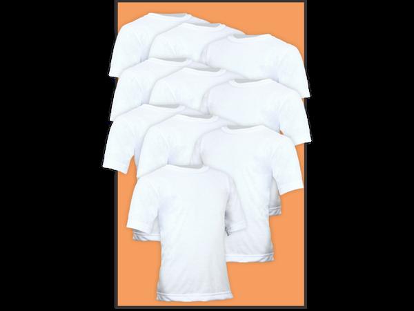 Kit 10 Camisetas Lisa Manga Curta Infantil Poliéster