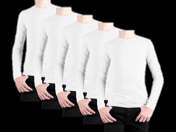 Kit 5 Camiseta Lisa Manga Longa Juvenil Poliéster
