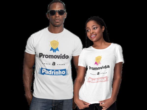 Kit Camiseta Baby Look Promovido a Padrinho e Madrinha