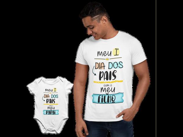 Kit Camiseta Body do Bebe Dia dos Pais Papai Frase