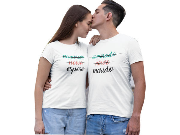 Kit Camiseta Masculina e Feminina Noivos Casados