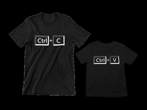 Kit Camisetas Adulto Juvenil Ctrl C Ctrl V Dia dos Pais Frase