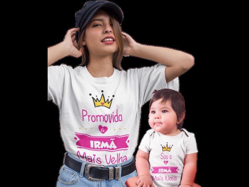 Kit T-shirt Promovida a Irmã Mais Velha Body Irmã Mais Nova