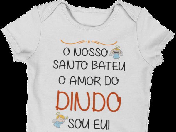 Roupa Body Bebê Amor do Dindo Frase engraçada